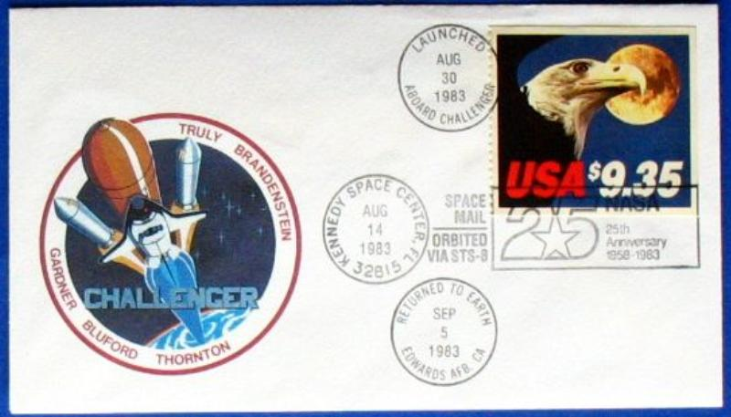 s1131 usa space mail sts 8 flight cover aboard challenger. Black Bedroom Furniture Sets. Home Design Ideas